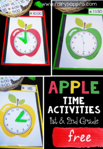 Free time activities featuring a cute apple theme. Perfect for kindergarten, first grade or second grade math centers. Kids can make the time using playdough or erasable markers. The focus is on telling time to o'clock, half past, quarter past and quarter too. There are also some blank time cards for you to write other times. #timeactivities #kindergartenmath #firstgrademath #secondgrademath #mathcenters #measurementactivities #appleactivities #fallactivities