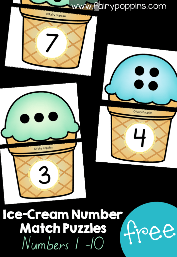 These free ice cream puzzles are great for subitizing. They can also be used to help kids learn how to match the number to the amount of dots shown. A perfect addition to math centers or morning tubs. #preschoolmath #kindergartenmath #mathcenters #morningwork #icecreamactivities #summeractivities #numberactivities #subitizing